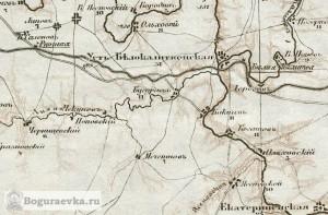 Хутор Бугураев (Богураев) на карте земель Войска Донского 1968 года